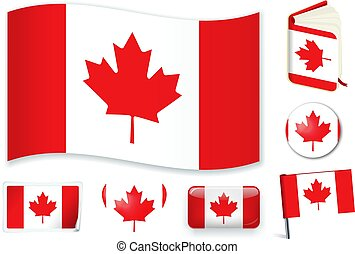 Canada. Canadian flag wave, book, circle, pin, button, heart and sticker.