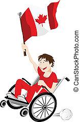 canada, carrozzella, bandiera, ventilatore, sport, sostenitore