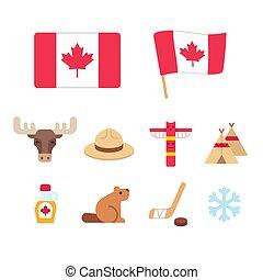 Canada cartoon icons set