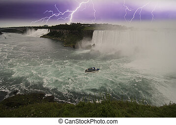 canada, chutes du niagara, orage, approchant