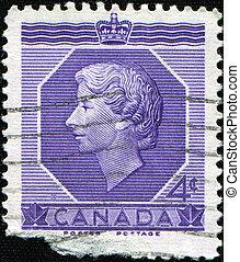 CANADA - CIRCA 1953: A stamp printed in Canada shows Queen Elizabeth II, circa 1953