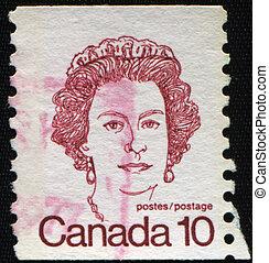 CANADA - CIRCA 1972: A stamp printed in Canada shows Queen Elizabeth II, circa 1972