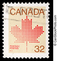 A stamp printed in Canada shows maple leaf, a symbol of...