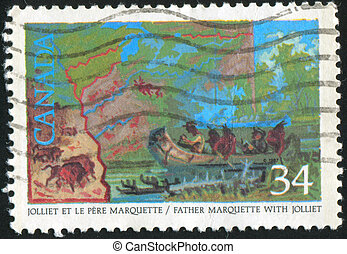 Mississippi River - CANADA - CIRCA 1986: stamp printed by...