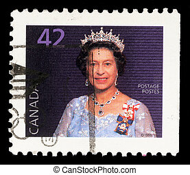 A stamp printed in Canada shows Queen Elizabeth II - CANADA...