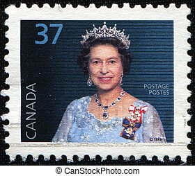 Queen Elizabeth II - CANADA - CIRCA 1988: A stamp printed in...