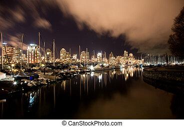 canada, città, bc, porto, vancouver, notte
