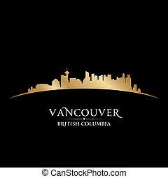canada, città, columbia, britannico, silhouette., orizzonte, vettore, vancouver, illustrazione