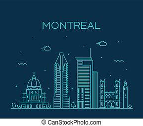 canada, città, lineare, orizzonte, vettore, quebec, montreal