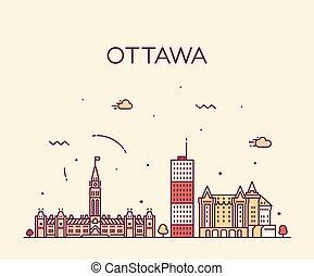 canada, città, ontario, lineare, ottawa, orizzonte, vettore