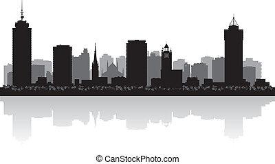 canada, città, silhouette, orizzonte, vettore, hamilton