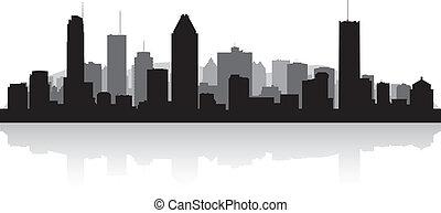 canada, città, silhouette, orizzonte, vettore, montreal