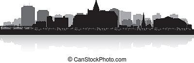 canada, città, silhouette, saskatoon, orizzonte, vettore