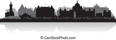 canada, città, silhouette, victoria, orizzonte, vettore