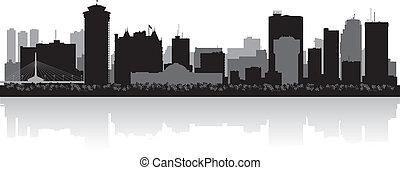 canada, città, silhouette, winnipeg, orizzonte, vettore
