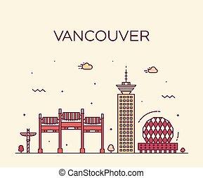canada, città, stile, lineare, orizzonte, vettore, vancouver