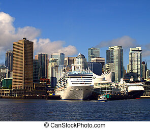 canada, cityscape, ships., vancouver, crociera
