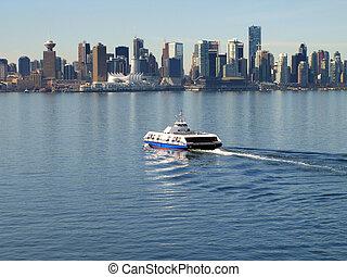 canada, cityscape, vancouver, mer, bus.