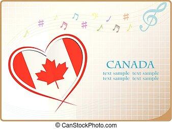 canada, coeur, drapeau, fait, logo