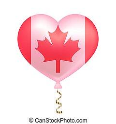 canada, coeur, drapeau, forme.