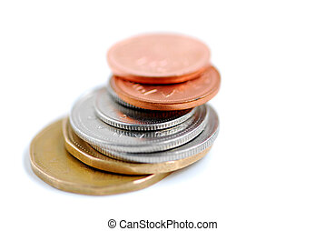 Canada coins - Stack of canadian coins on white background