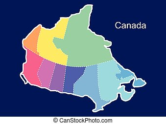 Canada colorful map in blue