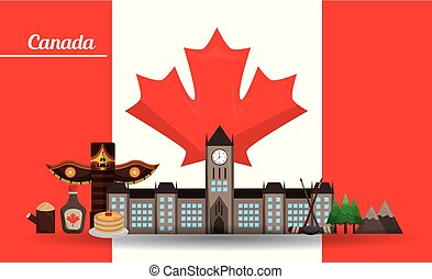 canada traditonal monument flag mountains maple syrup totem vector illustration