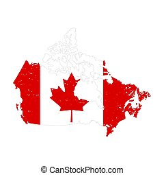Canada country silhouette with flag on background, isolated on white