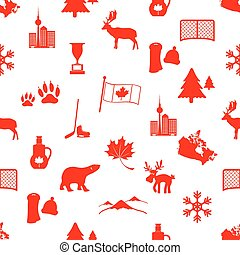 canada country theme symbols icons seamless pattern eps10