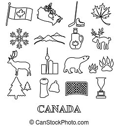 canada country theme symbols outline icons set eps10