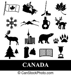 canada country theme symbols stickers set eps10