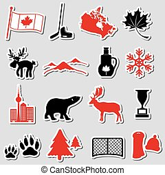 canada country theme symbols stickers set eps10
