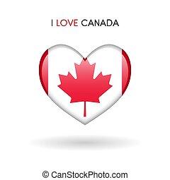 canada, cuore, amore, simbolo., bandiera, lucido, icona