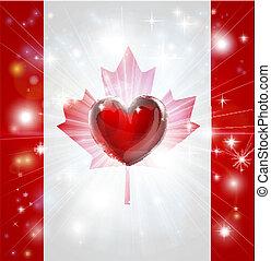 canada, cuore, bandiera, amore, fondo