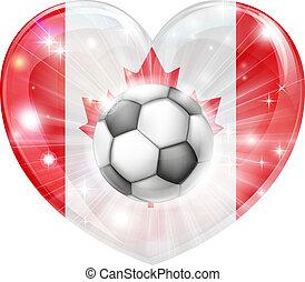 canada, cuore, bandiera, calcio