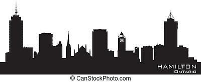 canada, détaillé, silhouette, horizon, vecteur, hamilton