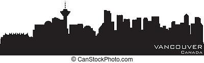 canada, détaillé, silhouette, vancouver, vecteur, skyline.