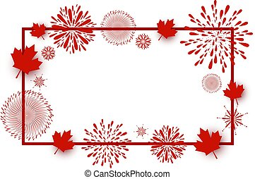 Canada day background design of maple leaves and firework with line frame on white background vector illustration