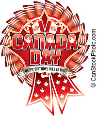Canada Day Rosette - Canada Day and Maple Leaf on Rosette...