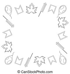 Canada Day. Square black and white frame of leaves of maple, balloons, firecrackers and flags. Vector.