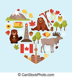 Canada colored decorative elements set in heart shape vector illustration.