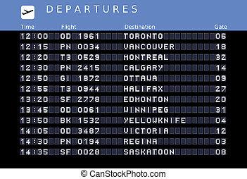Canada destinations - Departure board - destination...