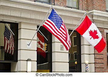canada, drapeaux, usa