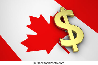 Canada's economy concept with canadian flag and money dollar currency golden symbol.