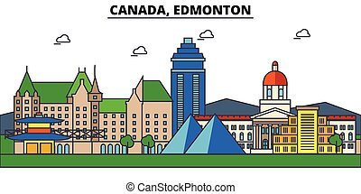 Canada, Edmonton. City skyline architecture, buildings, streets, silhouette, landscape, panorama, landmarks. Editable strokes. Flat design line vector illustration concept. Isolated icons set