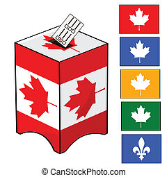 Illustration of a ballot box with the Canadian flag and different colors of votes (for the different parties in Canada)