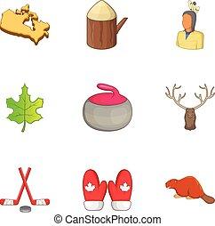 Canada elements icons set, cartoon style