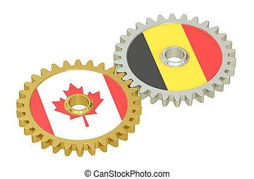 canada, et, belgique, relations, concept, drapeaux, sur, a, gears., 3d, rendre