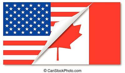 canada, etats, uni, drapeaux, combiné