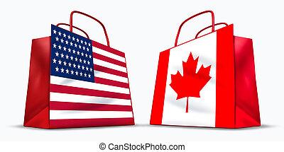 canada, etats-unis., commercer